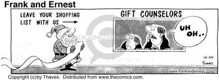 Comic Strip Bob Thaves Tom Thaves  Frank and Ernest 1975-12-24 Christmas list