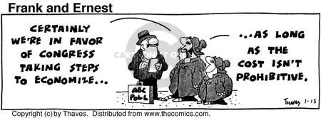 Cartoonist Bob Thaves Tom Thaves  Frank and Ernest 1976-01-13 economy