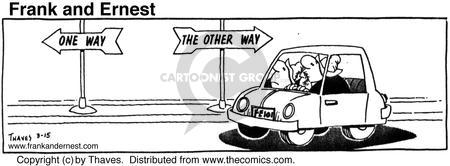Comic Strip Bob Thaves Tom Thaves  Frank and Ernest 1976-03-15 road sign