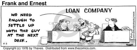 Comic Strip Bob Thaves Tom Thaves  Frank and Ernest 1976-04-02 bank account