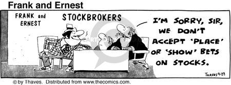 Comic Strip Bob Thaves Tom Thaves  Frank and Ernest 1976-04-29 finance
