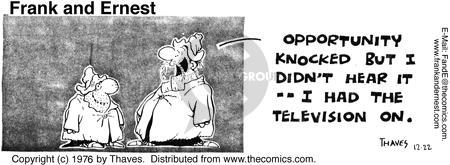 Comic Strip Bob Thaves Tom Thaves  Frank and Ernest 1976-12-22 hear