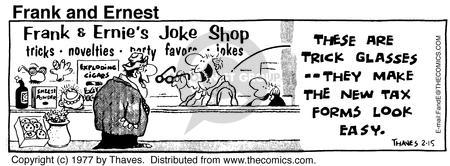Comic Strip Bob Thaves Tom Thaves  Frank and Ernest 1977-02-15 procedure