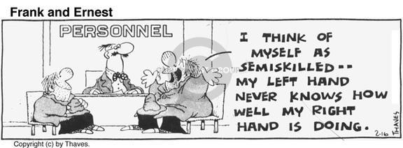 Comic Strip Bob Thaves Tom Thaves  Frank and Ernest 1977-02-16 coordinate