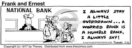 Comic Strip Bob Thaves Tom Thaves  Frank and Ernest 1977-02-22 bank account