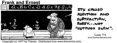 Comic Strip Bob Thaves Tom Thaves  Frank and Ernest 1977-05-12 blackboard