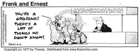 Comic Strip Bob Thaves Tom Thaves  Frank and Ernest 1977-08-23 question