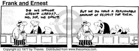 Comic Strip Bob Thaves Tom Thaves  Frank and Ernest 1977-08-24 debit card