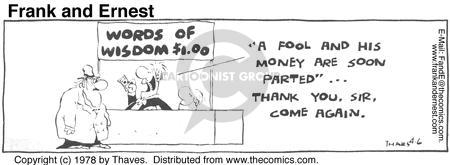 Comic Strip Bob Thaves Tom Thaves  Frank and Ernest 1978-04-06 finance
