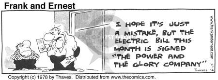 Comic Strip Bob Thaves Tom Thaves  Frank and Ernest 1978-06-15 electric power