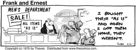 Comic Strip Bob Thaves Tom Thaves  Frank and Ernest 1979-02-21 clothes shopping