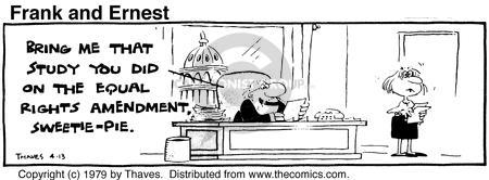 Comic Strip Bob Thaves Tom Thaves  Frank and Ernest 1979-04-13 equal rights