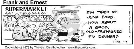 Cartoonist Bob Thaves Tom Thaves  Frank and Ernest 1979-05-28 supermarket