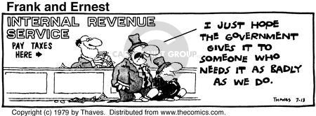 Comic Strip Bob Thaves Tom Thaves  Frank and Ernest 1979-07-13 income distribution
