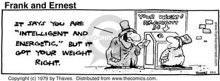 Comic Strip Bob Thaves Tom Thaves  Frank and Ernest 1979-11-01 weight