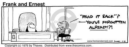 Cartoonist Bob Thaves Tom Thaves  Frank and Ernest 1979-11-08 secretary