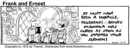 Comic Strip Bob Thaves Tom Thaves  Frank and Ernest 1979-12-19 sermon