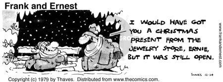 Comic Strip Bob Thaves Tom Thaves  Frank and Ernest 1979-12-24 holiday shopping