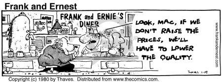 Comic Strip Bob Thaves Tom Thaves  Frank and Ernest 1980-01-19 meal preparation
