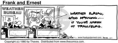Comic Strip Bob Thaves Tom Thaves  Frank and Ernest 1980-02-01 weatherman