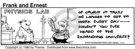 Comic Strip Bob Thaves Tom Thaves  Frank and Ernest 1980-02-27 physics