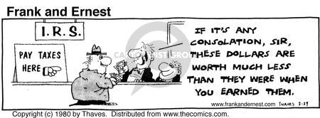 Comic Strip Bob Thaves Tom Thaves  Frank and Ernest 1980-02-29 tax