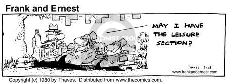 Comic Strip Bob Thaves Tom Thaves  Frank and Ernest 1980-03-28 ease