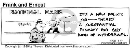 Comic Strip Bob Thaves Tom Thaves  Frank and Ernest 1980-03-29 financial institution