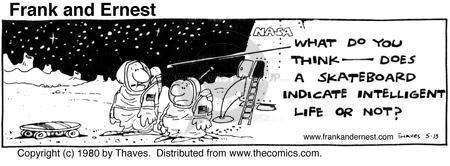 Comic Strip Bob Thaves Tom Thaves  Frank and Ernest 1980-05-13 landing