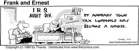 Comic Strip Bob Thaves Tom Thaves  Frank and Ernest 1980-05-21 tax loophole