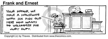 Comic Strip Bob Thaves Tom Thaves  Frank and Ernest 1980-07-03 jury