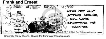 Comic Strip Bob Thaves Tom Thaves  Frank and Ernest 1980-07-22 Olympic boycott
