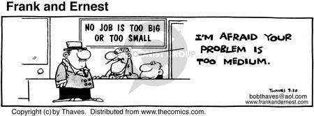 Comic Strip Bob Thaves Tom Thaves  Frank and Ernest 1980-09-20 problem solved