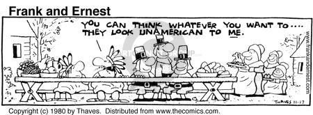 Comic Strip Bob Thaves Tom Thaves  Frank and Ernest 1980-11-27 Thanksgiving