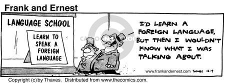 Comic Strip Bob Thaves Tom Thaves  Frank and Ernest 1980-12-09 foreign language