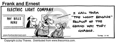 Cartoonist Bob Thaves Tom Thaves  Frank and Ernest 1981-02-14 electric payment