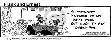 Comic Strip Bob Thaves Tom Thaves  Frank and Ernest 1981-04-17 knock