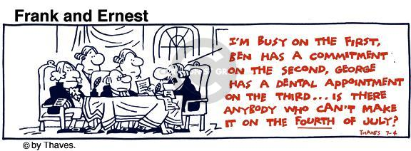 Comic Strip Bob Thaves Tom Thaves  Frank and Ernest 1981-07-04 commitment