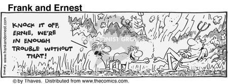 Cartoonist Bob Thaves Tom Thaves  Frank and Ernest 1981-09-01 fire
