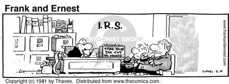 Comic Strip Bob Thaves Tom Thaves  Frank and Ernest 1981-09-10 tax cut