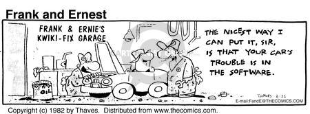 Comic Strip Bob Thaves Tom Thaves  Frank and Ernest 1982-02-22 car repair shop