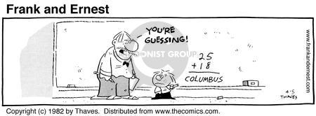 Comic Strip Bob Thaves Tom Thaves  Frank and Ernest 1982-04-05 blackboard