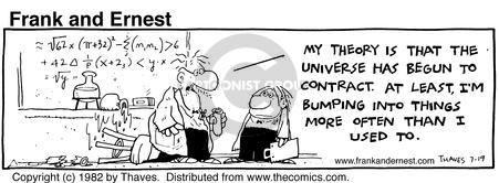 Comic Strip Bob Thaves Tom Thaves  Frank and Ernest 1982-07-19 physics