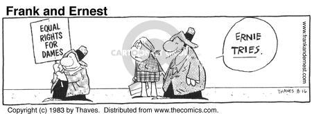 Comic Strip Bob Thaves Tom Thaves  Frank and Ernest 1983-08-16 sign