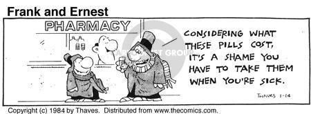 Comic Strip Bob Thaves Tom Thaves  Frank and Ernest 1984-01-14 shame