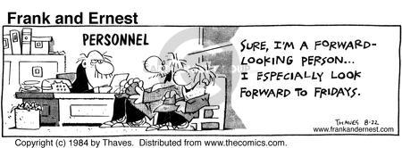 Comic Strip Bob Thaves Tom Thaves  Frank and Ernest 1984-08-22 employ
