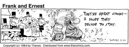 Comic Strip Bob Thaves Tom Thaves  Frank and Ernest 1984-11-22 Thanksgiving