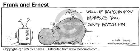 Cartoonist Bob Thaves Tom Thaves  Frank and Ernest 1985-01-09 friendship