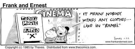 Comic Strip Bob Thaves Tom Thaves  Frank and Ernest 1985-01-22 movie rating