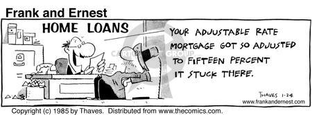 Comic Strip Bob Thaves Tom Thaves  Frank and Ernest 1985-01-24 financial institution